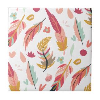 Bold and Colorful Boho Feathers Tile