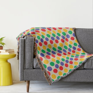 Bold And Colorful Polka Dot Pattern Throw Blanket