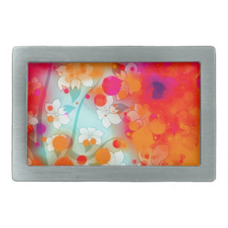 Bold and Cool Orange Teal Dreamy Floral Abstract Belt Buckles