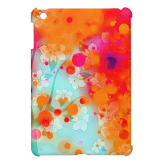 Bold and Cool Orange Teal Dreamy Floral Abstract Cover For The iPad Mini