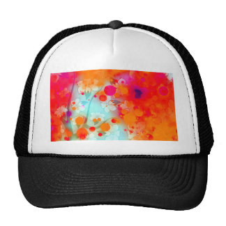 Bold and Cool Orange Teal Dreamy Floral Abstract Trucker Hat