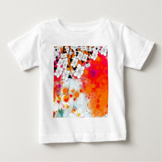 Bold and Cool Red Dreamy Floral Abstract Baby T-Shirt