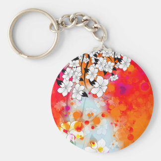 Bold and Cool Red Dreamy Floral Abstract Basic Round Button Keychain