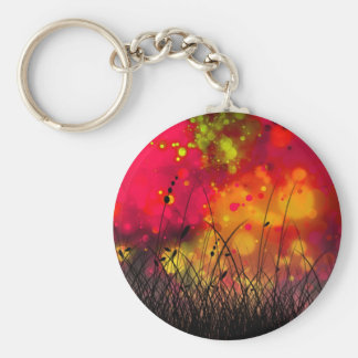 Bold and Cool Red Green Dreamy Abstract Basic Round Button Keychain