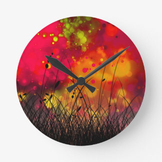 Bold and Cool Red Green Dreamy Abstract Wallclock