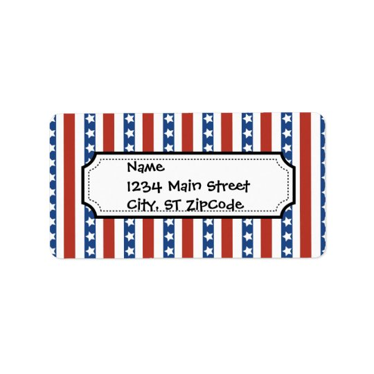 Bold and Fun 4th of July Stars and Stripes Pattern Label