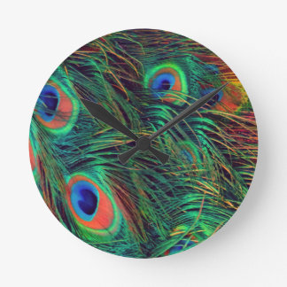Bold and Rich Peacock Round Clock