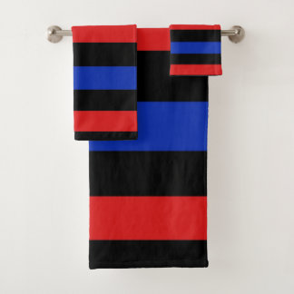 Bold and vibrant red, black and blue stripes 3688 bath towel set