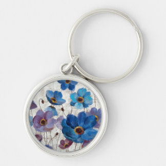 Bold Anemones Silver-Colored Round Keychain