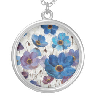 Bold Anemones Silver Plated Necklace