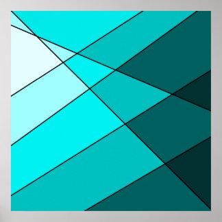 Bold aqua, blue, and teal artistic poster