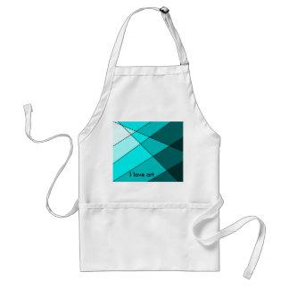 Bold aqua I love art apron Standard Apron