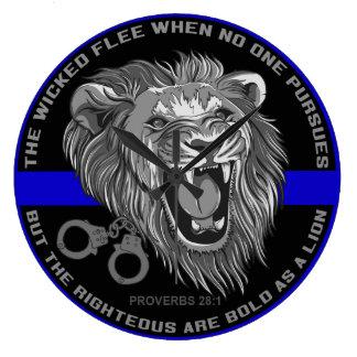Bold As a Lion Thin Blue Line Clock