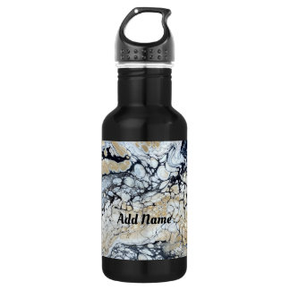 Bold Black Abstract Personalized Water Bottle