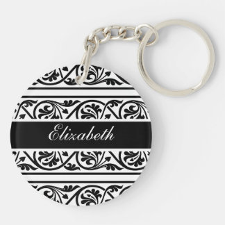 Bold Black and White Damask Double-Sided Round Acrylic Keychain