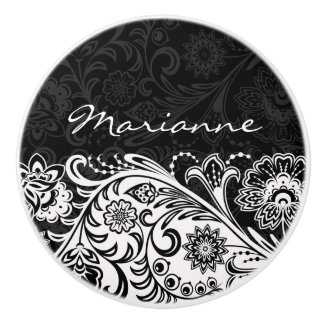 Bold Black and White Floral Ceramic Pull or Knob