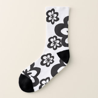 Bold Black and White Floral Pattern Sock 1