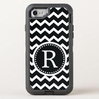 Bold Black and White Monogram Chevron OtterBox Defender iPhone 8/7 Case