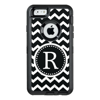 Bold Black and White Monogram Chevron OtterBox Defender iPhone Case