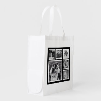 Bold Black and White Photo Grid for Instagram Pics Reusable Grocery Bag