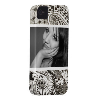 Bold Black and White Photo Zen Doodles iPhone 4 Case-Mate Case