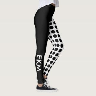 Bold Black and White Polka Dot and Solid Monogram Leggings