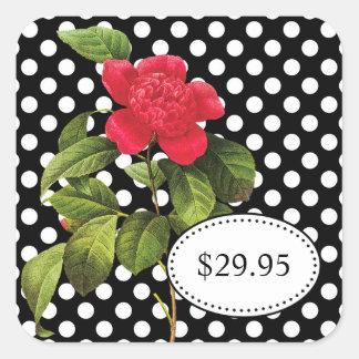 Bold Black and White Polka Dots Camellia Price Tag Square Sticker
