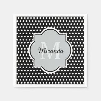 Bold Black and White Polka Dots Monogram and Name Disposable Napkin