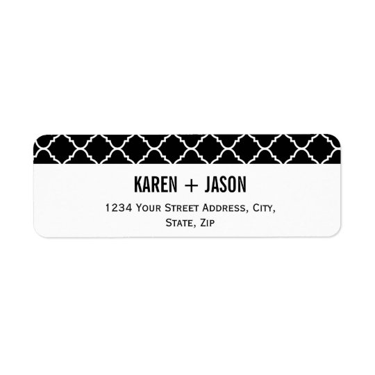 bold black and white quatrefoil return address label
