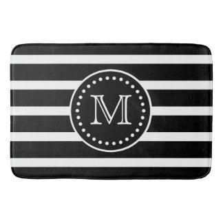 Bold Black and White Stripe and Polka Dot Monogram Bath Mat
