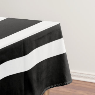 Bold Black And White Stripes Pattern Tablecloth