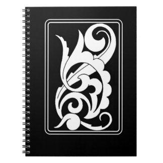 Bold Black  and White Swirl Deco Design Note Books