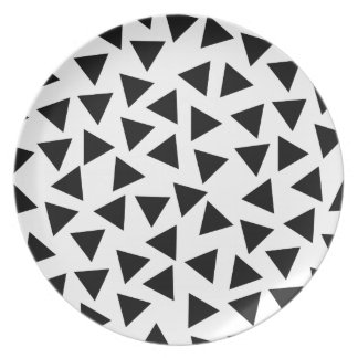 Bold Black and White Triangle Print Plates