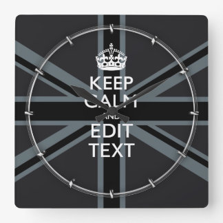 Bold Black Black  Keep Calm Your Text Union Jack Square Wall Clock