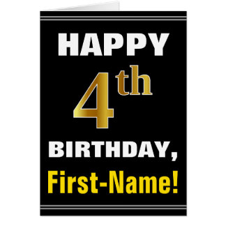 Bold, Black, Faux Gold 4th Birthday w/ Name Card