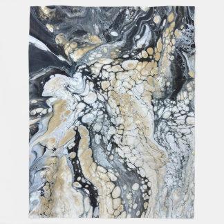 Bold Black Gold & White Large Fleece Blanket