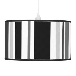 Bold Black, Gray, White Stripes Hanging Lamp