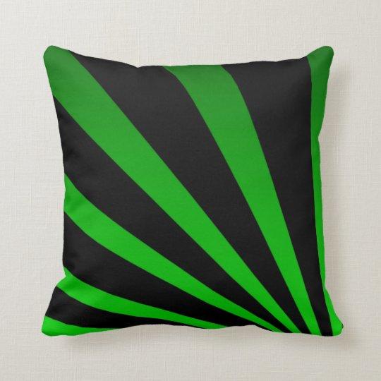 Bold Black & Green Striped Pillow
