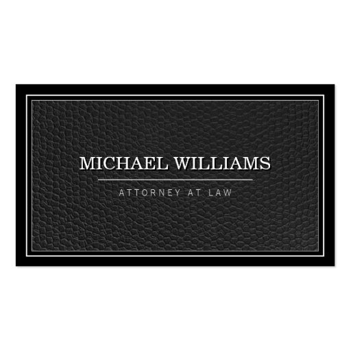 Bold Black Leather Professional Attorney Law Firm Business Card