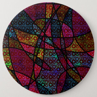 Bold Black Lines & Multicolored, Abstract Textures 6 Inch Round Button