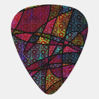 Bold Black Lines & Multicolored, Abstract Textures Guitar Pick