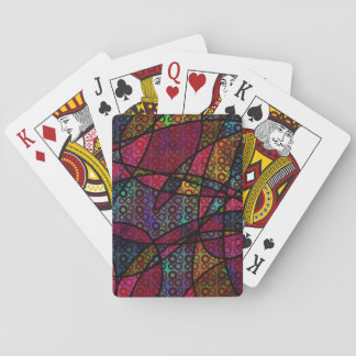 Bold Black Lines & Multicolored, Abstract Textures Playing Cards