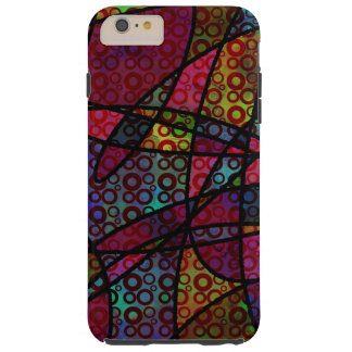 Bold Black Lines & Multicolored, Abstract Textures Tough iPhone 6 Plus Case