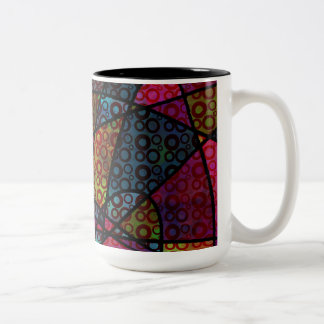 Bold Black Lines & Multicolored, Abstract Textures Two-Tone Coffee Mug