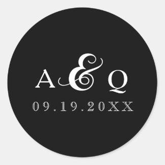 Bold Black Monogram Wedding Classic Round Sticker