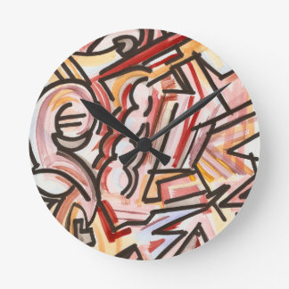 Bold Black Pattern With Watercolor Background Wallclock