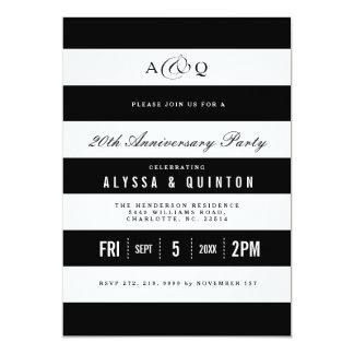 Bold Black Stripes Anniversary Party Invitation