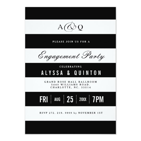 Bold Black Stripes Engagement Party Invitation