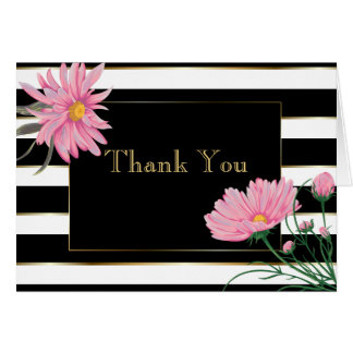 Bold Black Stripes Pink Daisies Thank You Card