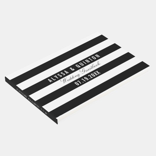 Bold Black Stripes Theme Wedding Guestbook